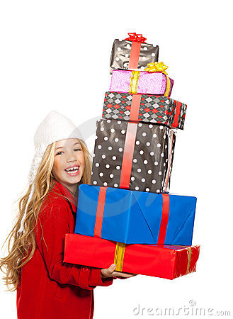 Kid girl holding many gifts stacked on her hand