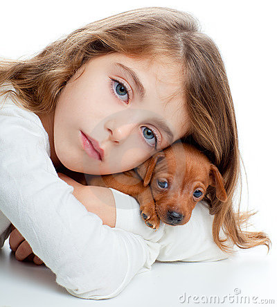 Kid girl with mini pinscher pet mascot dog
