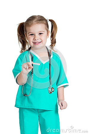 Kid girl playing doctor isolated on white