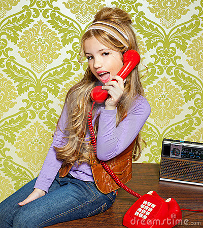 Kid girl retro talking busybody in red telephone