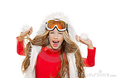 Kid girl with snow winter glasses and white fur