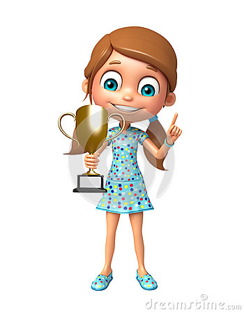 Free Kid Girl With  Winning Cup Stock Photography - 77493552