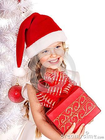 Kid giving Christmas gift box.