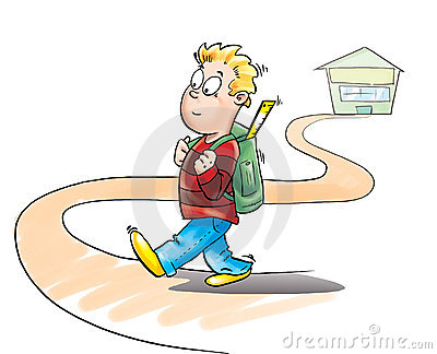 Kid going to school