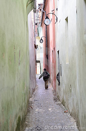Kid going to school / the rope street from Brasov