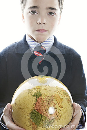 Kid holding globe in his hand.