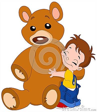 Kid hug bear