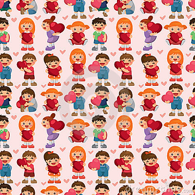 Kid hug heart seamless pattern