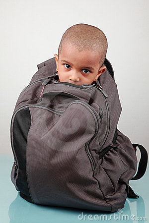 A kid inside a bag