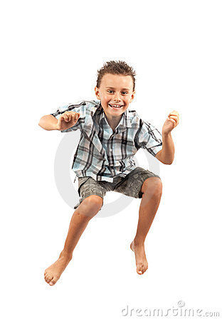 Kid jumping for joy