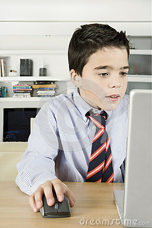 Kid with Laptop at Home