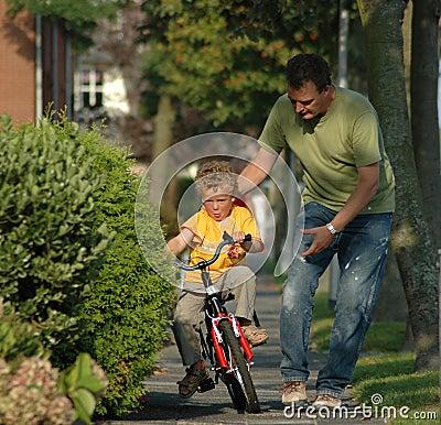 Kid learning biking