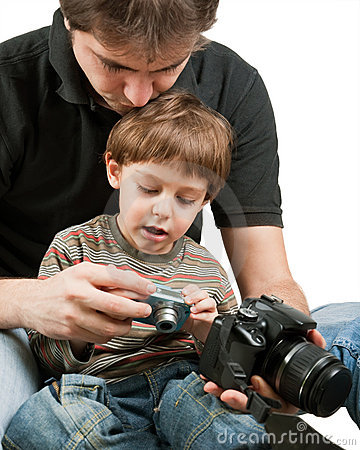 Kid learning photography