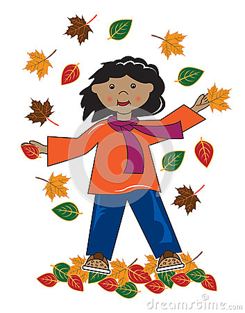 Kid in leaves african american girl