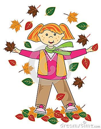 Kid in leaves red hair girl