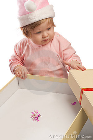 Kid looks at empty present box