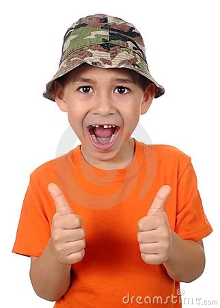 Kid missing tooth giving thumbs up