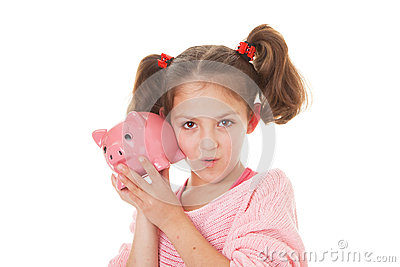 Kid with money box savings
