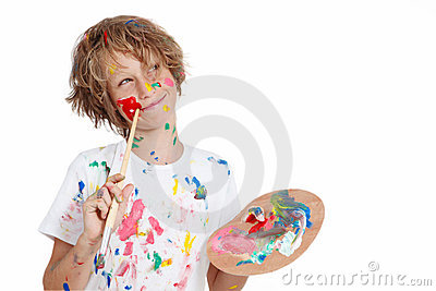 Kid with paint brush