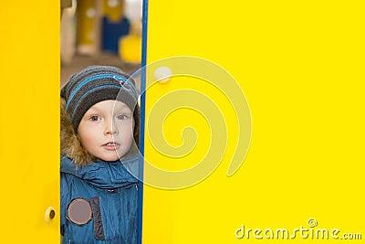 Kid peeping through