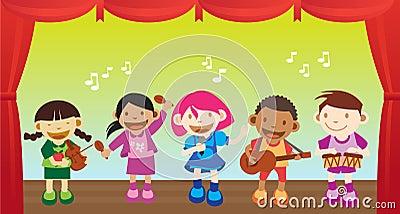 Kid Performing music