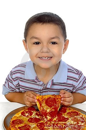 Kid and pizza 3 years old