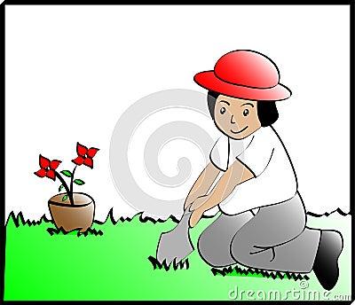 Kid planting