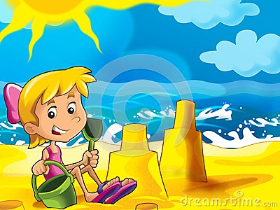 Kid playing on the beach