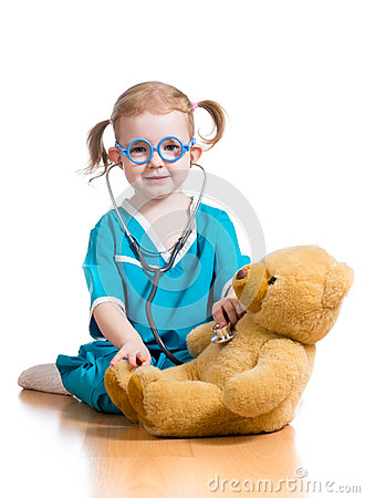 kid playing doctor with toy royalty free stock photo California Bear Vector Rattle Vector