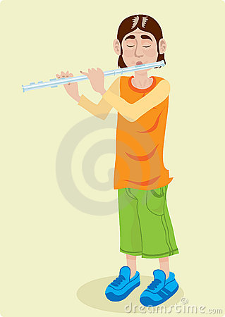 Kid playing the flute