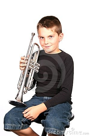 Free Kid Playing Holding Trumpet Stock Photo - 424580