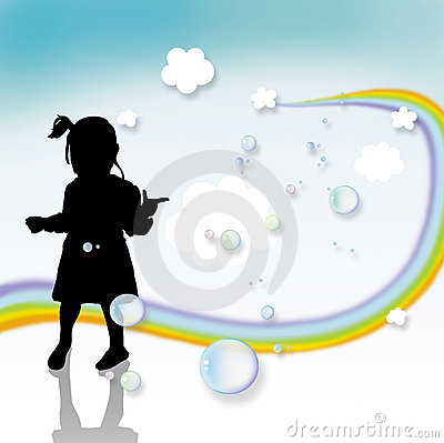 Kid playing and rainbow