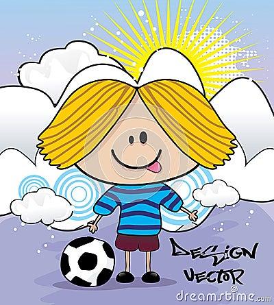 Kid playing soccer cartoon