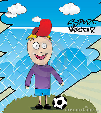 Kid playing soccer cartoon