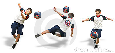 Kid playing soccer isolated