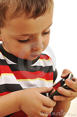 Kid playing with touch mobile