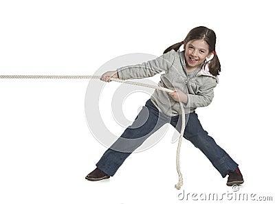 kid pulling rope