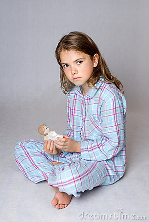 kid in pyjamas alone with angel craft