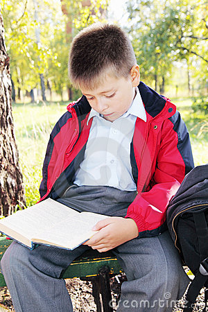 Kid reading book in park