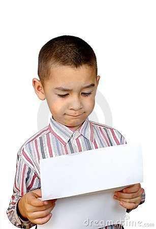Kid reading a letter
