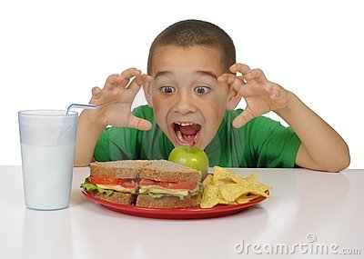 Kid ready to eat a sandwich lunch