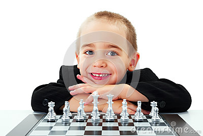 Kid ready to play chess