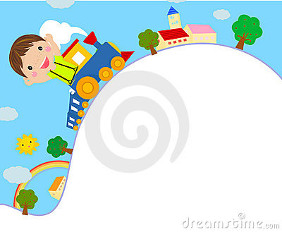 Kid Riding on a Toy Train