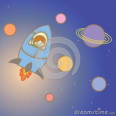 Kid on rocket
