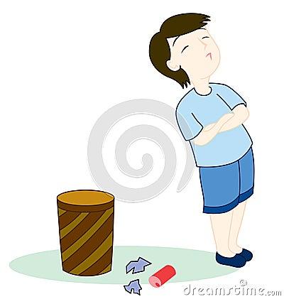 Kid with rubbish