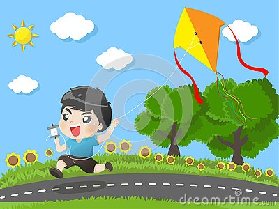 Kid running kites in the garden Vector Illustration