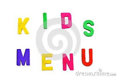 Kid s menu in magnet letters