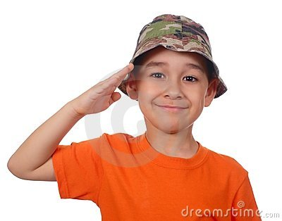 Kid saluting