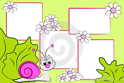 Kid scrapbook - snail and flowers