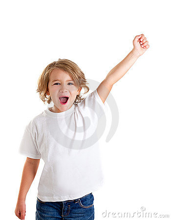 Free Kid Screaming With Happy Expression Hand Up Royalty Free Stock Photo - 23309655